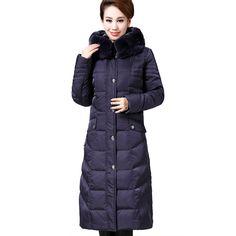 2016 Winter Jacket Women Plus Size 5XL Women Coat Rabbit Fur Hooded Elegant Duck Down Jackets Women Long Parkas Outerwear 6889