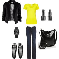 blue denim jeans - yellow shirt - black blazer - black shoes - black purse - black earrings