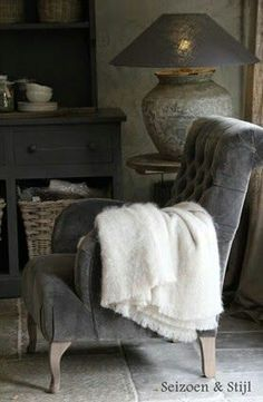 "(Season and style). Grey velvet tufted chair with rustic grey surroundings. from a Dutch board ""Rural Living"" Home Living, Living Spaces, Living Room, Home Design, Gray Interior, Interior Design, Vibeke Design, Tufted Chair, Home And Deco"