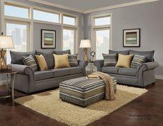 1560 - The Contemporary Living Room Set - Grey