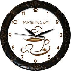 Ceasul reprezinta o ceasca de cafea, cu cateva boabe de cafea si doua inimioare stilizate. Ceasul poate fi personalizat cu textul dvs. Clock, Retro, Watch, Clocks, Retro Illustration