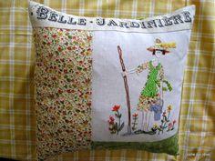 coussin belle jardinière - dessin scrap, quilt and stitch