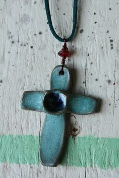 Ceramic teal cross pendant