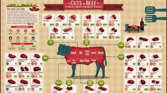 Here Is a Chart Showing All the Different Cuts of Beef...  This infographic from Visual.ly breaks down where which kind of beef cut comes from. If you were ever curious to see where the chuck is from or where the sirloin lies, you never have to wonder again.