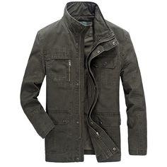 Sale 14% (68.94$) - AFSJEEP Military Stylish Multi-pocket Zipper Button Stand Collar Cotton Outwear Jacket for Men