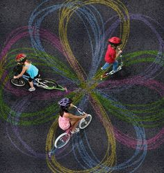 Cool idea - Chalktrail is a simple device that attaches to any bike or scooter, allowing it to drag a thick piece of chalk behind it. There is a Kickstarter project for this (http://www.kickstarter.com/projects/1894629582/chalktrail-awesome-toys-for-bike-and-scooter)