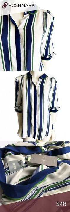 NWT A n t h r o p o l o g i e • B l o u s e • Sz14 NWT Anthropologie Maeve top Sz 14. Colors are blue, green and off white. Long Sleeve. Anthropologie Tops Button Down Shirts