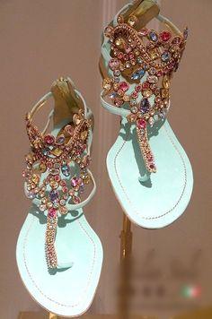 2014 NEW Summer Fashion Women Genuine Leather Diamond Rhinestone Sandals Roman Flip-flop Flat Sandals Blue FreeShipping