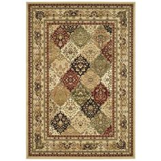The Lyndhurst rug has a multicolor background with stunning panel colors of green, red, ivory, rust and beige. This area rug is constructed of an enhanced polypropylene pile that keeps dirt out and keeps the rug looking great for years