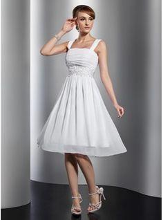 A-Line/Princess Square Neckline Knee-Length Chiffon Homecoming Dress With Ruffle Lace Beading