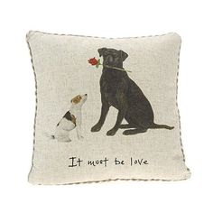 """At Home in the Country - Large """"It Must Be Love"""" Linen Mix Cushion with Gingham Back"""