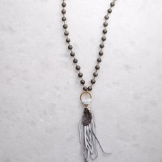 Virtue Luxe- Double Circle Rosary Druzy Tassel Necklace in Grey Druzy