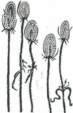 TEASELS LINO PRINT - Black & White Botanical Print - 8x10 Block Print