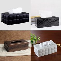 European style Rectangle PU Leather Tissue Box Cover Paper Holder Home Decor