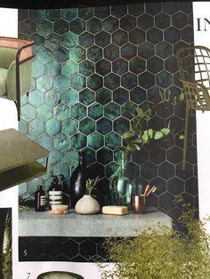 tegel 'new terracotta ceramic design' kleur DWT ODE 02 Office Color Schemes, Black Interior Design, Blue Tiles, Green Tiles, Old Wall, Tiles Texture, Black Walls, Bathroom Interior, Bathroom Ideas