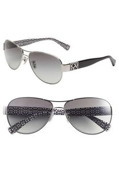 COACH 'Charity' Metal Aviator Sunglasses available at #Nordstrom  Love, Love, Love!