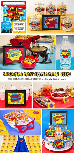 Everything you need to plan the ultimate SUPERHERO teacher and staff appreciation week: step-by-step instructions, photo inspiration, decoration ideas, and printables!