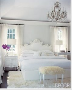 white bedroom- so pretty. Id like to have an all white room