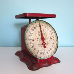 Antique Red Kitchen Scale