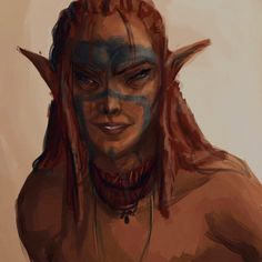 Elfa; caucásica; adulta; pelirroja, pelo largo con rastas; pintura de guerra.--- not rastas, matts :) caucasians can't have locs