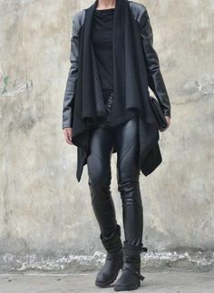 PU Faux Leather Sleeve Coat With Drape Knitted Front Black Women NEW   ONLY $79.99 !! Free International Shipping!!