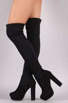 Fitted Chunky Heeled Over The Knee Platform Boots
