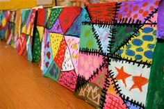 Art Project Girl: Art Lesson Crazy Quilts color mixing and patterns