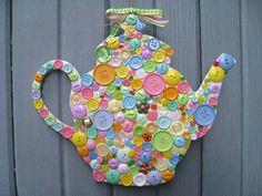 Button Teapot Wall Decor, Door Decor, Button Wall Art, Teapot Plaque Front Door Wreath. $40.00, via Etsy.