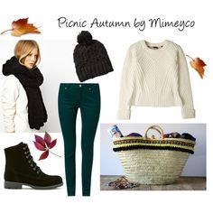 """""""Picnic Autumn"""" by mimeyco #knit #booties #picnicbasket #strawbag #outfit #autumn"""