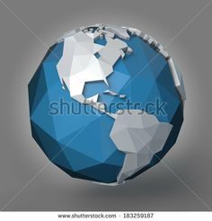 3d polygonal style illustration of earth planet, western hemisphere by Arthimedes, via Shutterstock