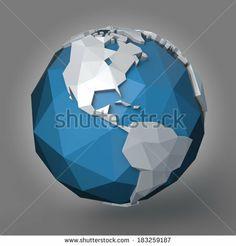 3d polygonal style illustration of earth planet, western hemisphere by Arthimedes, via Shutterstock