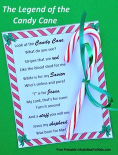 Legend of the Candy Cane Printable Free printable - Legend of the Candy Cane holiday story for children and adults. Two types of printable cards to choose from. Preschool Christmas, Christmas Crafts For Kids, Christmas Activities, A Christmas Story, Xmas Crafts, Christmas Printables, Christmas Traditions, Christmas Holidays, Christmas Cards