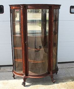 When Should You Refinish an Antique? … two Oak Curved Glass China ...