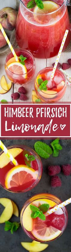 Homemade lemonade with the tescoma lemon squeezer- Selbstgemachte Limonade mit der tescoma-Zitronenpresse Lemonade does not always have to be packed with sugar. This homemade lemonade with raspberries and peach is incredibly tasty and refreshing! Peach Lemonade, Blueberry Lemonade, Smoothie Drinks, Smoothie Bowl, Smoothies, Smoothie Mixer, Simple Jungle Juice Recipe, Homemade Lemonade Recipes, Cocktail Recipes