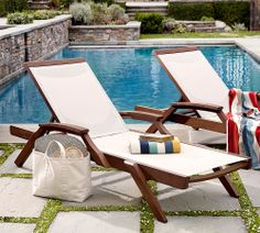 Pool design and matching chaise lounges. (I prefer a one piece/smooth and non-grassy patio. ) . Love the landscaping touches around the pool. (These chaise lounge chairs: PB).