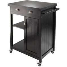 Wood Timber Kitchen Cart, Black...nice look for bar...just match any wood already being used