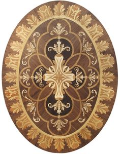 In stock hardwood floor medallion made of Walnut, Wenge, Avodire, and Anigre woods. Georgian Furniture, Hardwood Floors, Flooring, Parquetry, Intarsia Woodworking, Minis, Miniature Furniture, Decoupage, Floor Design