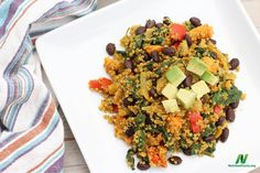 Mexican quinoa salad with sweet potatoes, red peppers, onions, and greens. #wholefoods #wholegrains #plantbased