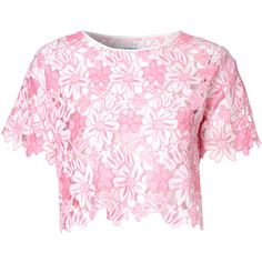 Pink Cut Out Floral Crop Top (60 CAD) ❤ liked on Polyvore featuring tops, shirts, pink, short sleeve crop top, crop top, cut-out crop tops, print crop tops and polyester shirt