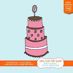 My Pretty Cake Hand Drawn Clip art single, cake drawing, cake clipart, cake clip art, digital scrapbooking. $2.00, via Etsy.