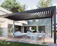 Pergola With Roof, Outdoor Pergola, Outdoor Decor, Modern Gazebo, Outdoor Living Rooms, Backyard Patio Designs, Backyard Ideas, Garden Ideas, Backyard Retreat