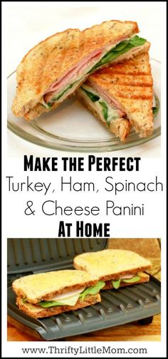 Looking for a quick and easy week night supper idea? Try making one of these super easy turkey, ham, spinach & cheese Panini Recipe! Best Panini Recipes, Grilling Recipes, Cooking Recipes, Sandwich Recipes, Healthy Diet Recipes, Healthy Foods To Eat, Lunch Recipes, Wrap Recipes, Healthy Eating