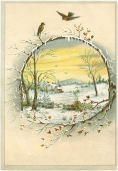 Winter Scene Download, The Graphics Fairy - source of wonderful graphics for crafters. #vintage #christmas #vintagechristmas