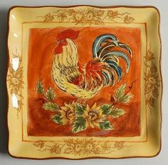Maxcera Corp Orange Rooster Square Salad Plate, Fine China Dinnerware by Maxcera Corp. $7.99. Maxcera Corp - Maxcera Corp Orange Rooster Square Salad Plate - Rooster,Yellow Flowers,Scalloped
