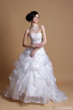 Spectacular A-line Strapless Floor-length Chapel Beaded Sasha's Wedding Dresses