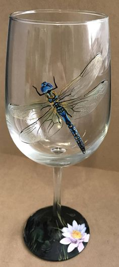 Dragonfly Wine Glass Hand Painted Stemmed Stemless Nature