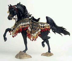 Black Arabian breyer horse ~ A ~ MAZ ~ING resin with a knockout costume! Arabian Horse Costume, Horse Costumes, Arabian Horses, All The Pretty Horses, Beautiful Horses, Toy Art, Bryer Horses, Black Stallion, Painted Pony