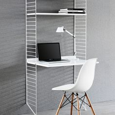 Wall shelves & hanging shelves - String system shelf with workstation string string You are in the right place about work office deco - Furniture, Shelves, Modular Office Furniture, Workstation, Feng Shui Decor, Desk Shelves, Work Office Decor, Furniture Design, Desk