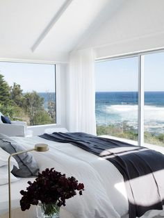 A bedroom with a great view