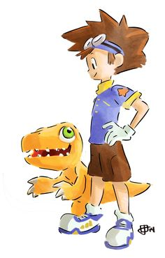 "Fanart by joe the johnston. Taichi ""Tai"" Kamiya and Agumon from Digimon."